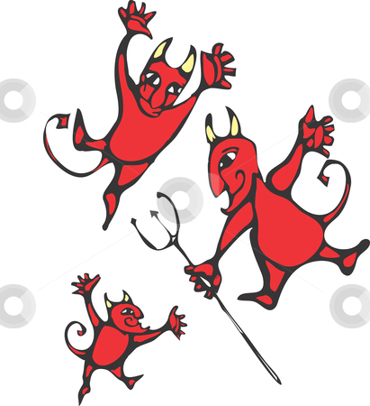 Devils stock vector clipart, Three smiling devils with horns and pitchforks. by Jeffrey Thompson