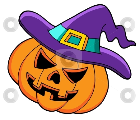 Halloween pumpkin in hat stock vector clipart, Halloween pumpkin in hat - vector illustration. by Klara Viskova