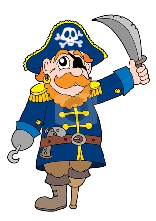 Pirate with sabre stock vector clipart, Pirate with sabre - vector illustration. by Klara Viskova