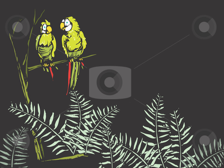Ferns with Parrots stock vector clipart, Parrots in the tree and ferns on the forest floor on a black background. Suitable for text or another image. by Jeffrey Thompson