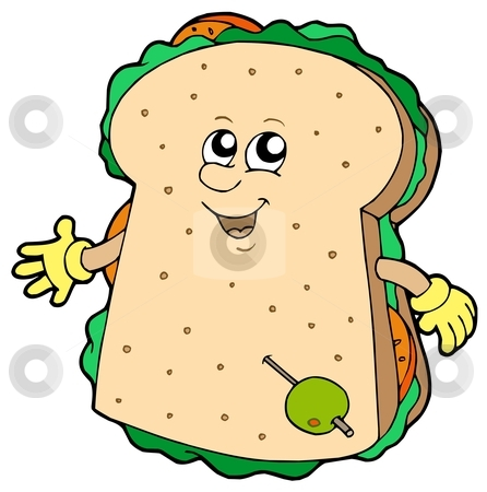 Cartoon sandwich stock vector clipart, Cartoon sandwich on white background - vector illustration. by Klara Viskova