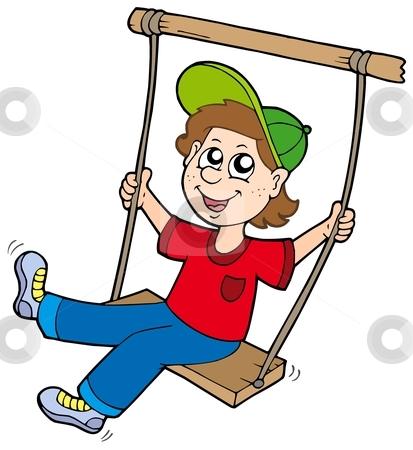 Boy on swing stock vector clipart, Boy on swing - vector illustration. by Klara Viskova