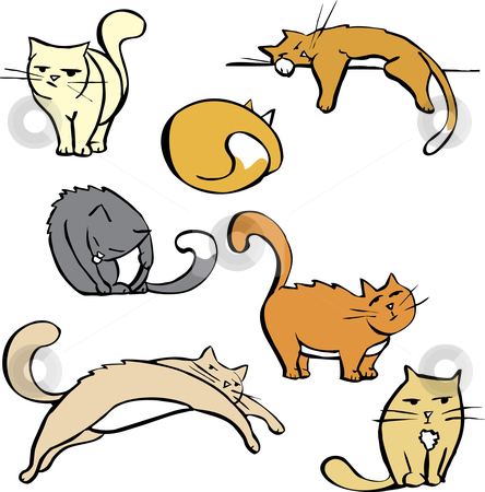 Several Cats stock vector clipart, Cartoon image sheet of various cats in different poses. Good for spot illustration space or cartoons. by Jeffrey Thompson