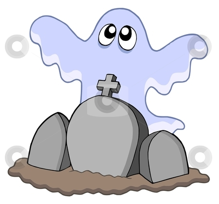 Ghost with graves stock vector clipart, Ghost with graves - vector illustration. by Klara Viskova