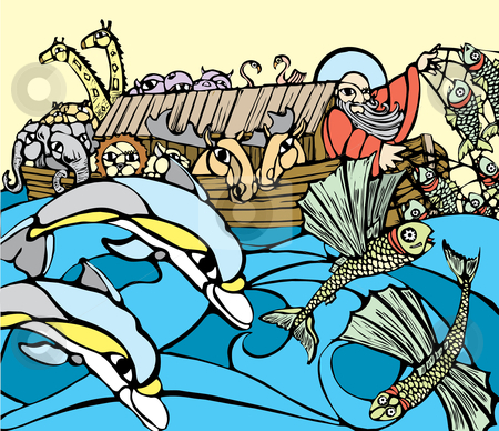 Noah's Ark stock vector clipart, Noah fishes of the side of his Ark while dolphins play. by Jeffrey Thompson
