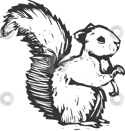 squirrel stock vector clipart, A forest squirrel done in woodcut style sits and listens. by Jeffrey Thompson