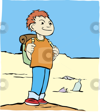 Hiking Boy stock vector clipart, Cartoon image of a boy with a backpack in a sandy desert. by Jeffrey Thompson