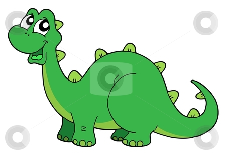 Cute dinosaur vector illustration stock vector clipart, Cute green dinosaur - vector illustration. by Klara Viskova