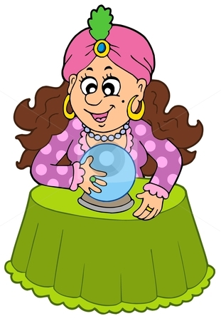 crystal ball stock vector clipart, Fortune teller with crystal ball ...