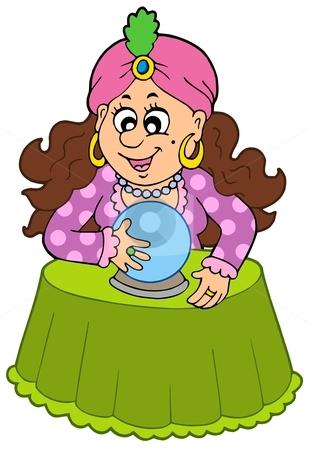 Fortune teller with crystal ball stock vector clipart, Fortune teller with crystal ball - vector illustration. by Klara Viskova
