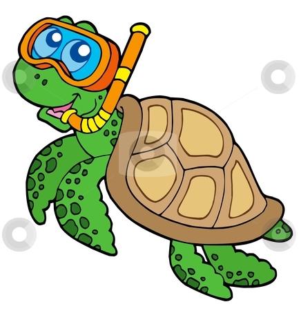Sea turtle snorkel diver stock vector clipart, Sea turtle snorkel diver - vector illustration. by Klara Viskova
