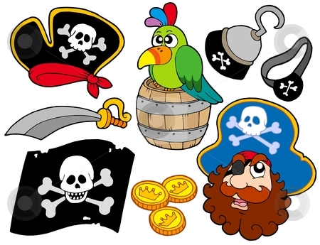 Piarte collection 8 stock vector clipart, Pirate collection 8 on white background - vector illustration. by Klara Viskova