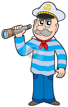Sailor with spyglass stock vector clipart, Sailor with spyglass - vector illustration. by Klara Viskova