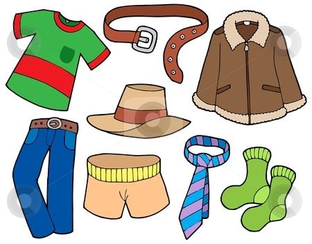 Man clothes collection stock vector clipart, Man clothes collection - vector illustration. by Klara Viskova