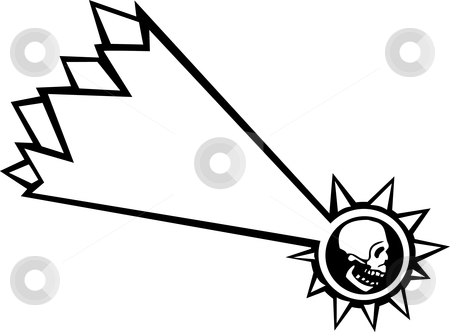 Shooting Star Skull  stock vector clipart, Falling star with the motif of a human skull. by Jeffrey Thompson