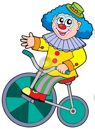 Cartoon clown riding bicycle stock vector clipart, Cartoon clown riding bicycle - vector illustration. by Klara Viskova