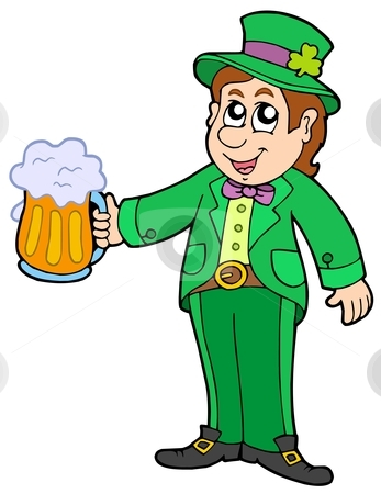 Leprechaun with beer stock vector clipart, Leprechaun with beer - vector illustration. by Klara Viskova