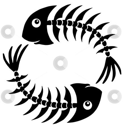 Pair of fishbones stock vector clipart, Pair of fishbones - vector illustration. by Klara Viskova