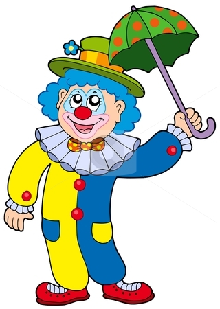 Funny clown holding umbrella stock vector clipart, Funny clown holding umbrella - vector illustration. by Klara Viskova