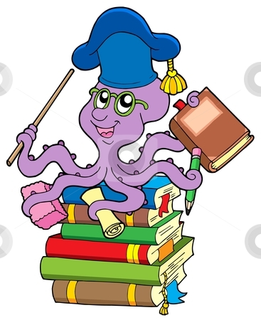 Octopus teacher on pile of books stock vector clipart, Octopus teacher on pile of books - vector illustration. by Klara Viskova