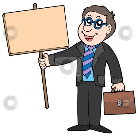 Businessman with wooden table stock vector clipart, Businessman with wooden table - vector illustration. by Klara Viskova