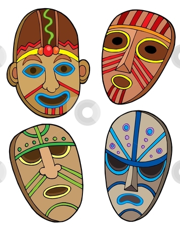 Tribal masks collection stock vector clipart, Tribal masks collection - vector illustration. by Klara Viskova