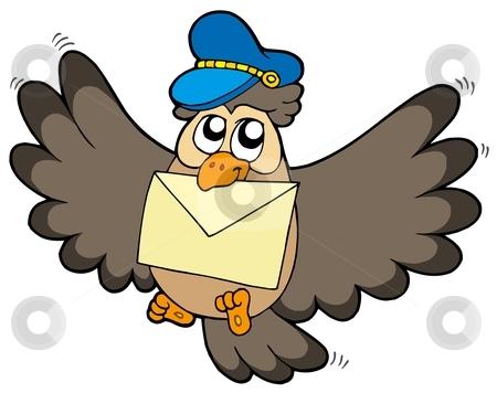Owl postman with letter stock vector clipart, Owl postman with letter - vector illustration. by Klara Viskova