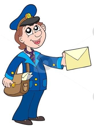 Cute postman with letter stock vector clipart, Cute postman with letter - vector illustration. by Klara Viskova