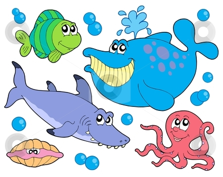 Fish collection stock vector clipart, Fish collection on white background - vector illustration. by Klara Viskova