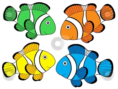 Various color clownfishes 1 stock vector clipart, Various color clownfishes 1 - vector illustration. by Klara Viskova
