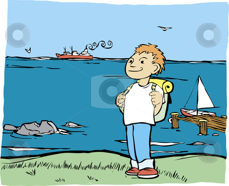 Shore Hike stock vector clipart, Boy with backpack on the shore of the ocean. by Jeffrey Thompson