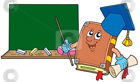 Book teacher with blackboard stock vector clipart, Book teacher with blackboard - vector illustration. by Klara Viskova