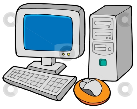 Computer 2 stock vector clipart, Computer 2 on white background - vector illustration. by Klara Viskova