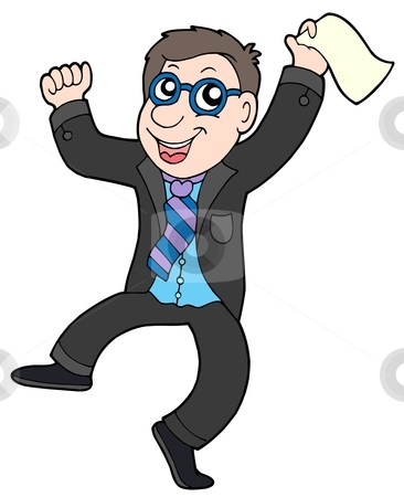 Happy jumping businessman stock vector clipart, Happy jumping businessman - vector illustration. by Klara Viskova