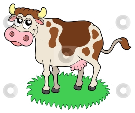 Cute cow stock vector clipart, Cute cow - vector illustration. by Klara Viskova