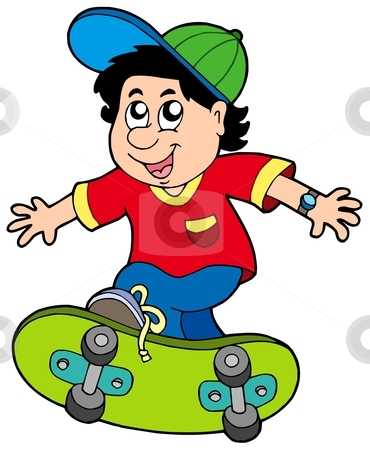 Skateboarding boy stock vector clipart, Skateboarding boy on white background - vector illustration. by Klara Viskova