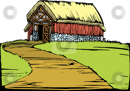 Barn on Hill stock vector clipart, Scratchboard image of a red barn with a turf roof sitting on a hill. by Jeffrey Thompson