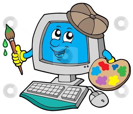 Cartoon computer artist stock vector clipart, Cartoon computer artist - vector illustration by Klara Viskova