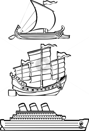 Three nautical ships stock vector clipart, Three simple ships from history illustrated in black and white. by Jeffrey Thompson