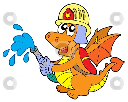 Fireman dragon stock vector clipart, Fireman dragon on white background - vector illustration. by Klara Viskova