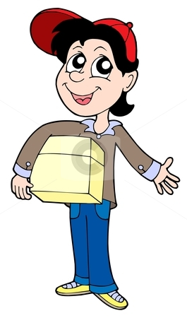 Delivery boy with box 2 stock vector clipart, Delivery boy with box 2 - vector illustration. by Klara Viskova
