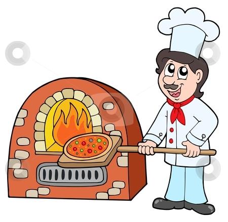 Chef baking pizza stock vector clipart, Chef baking pizza - vector illustration. by Klara Viskova