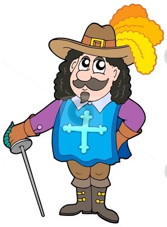 Cartoon musketter stock vector clipart, Cartoon musketeer on white background - vector illustration. by Klara Viskova