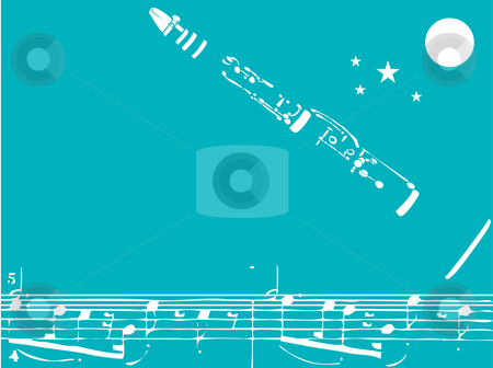 Jazz Clarinet stock vector clipart, Music inspired image of clarinet (originally drawn in brushed ink and then scanned) and mixed jumble of notes (swapped randomly) with stars and a moon in the background. by Jeffrey Thompson