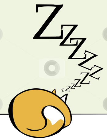 Sleeping Cat stock vector clipart, Cartoon of a sleeping rolled up into a ball. by Jeffrey Thompson