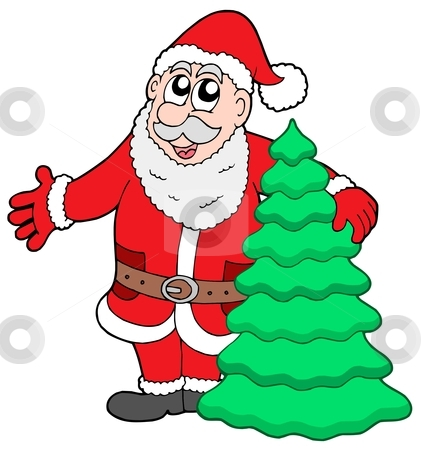 Santa Clause with tree stock vector clipart, Santa Clause with tree - vector illustration. by Klara Viskova