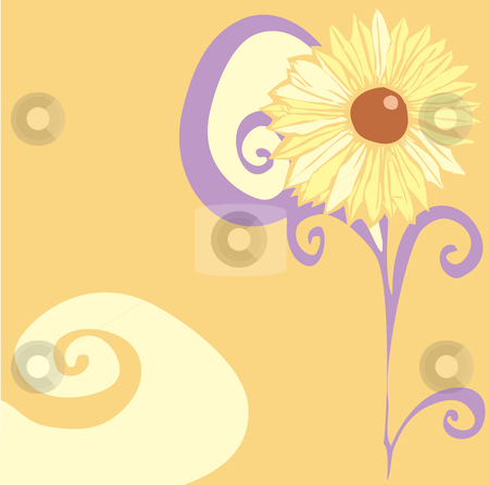 Psychedelic Flower stock vector clipart, Sixties Psychedelic flower with swirls and orange color. by Jeffrey Thompson