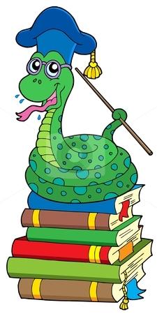 Snake teacher on pile of books stock vector clipart, Snake teacher on pile of books - vector illustration. by Klara Viskova