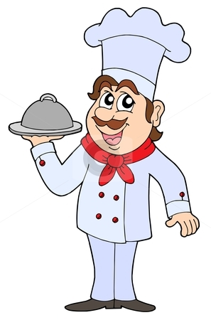 Chef vector illustration stock vector clipart, Chef holding tray with food - vector illustration. by Klara Viskova