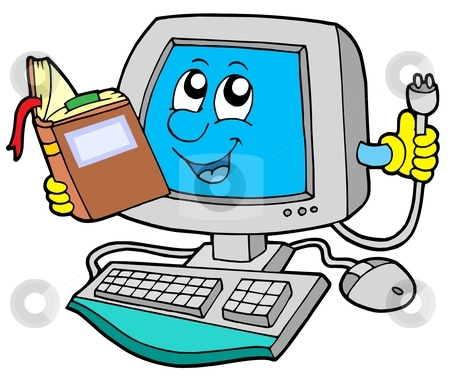 IT computer with book stock vector clipart, IT computer with book - vector illustration. by Klara Viskova